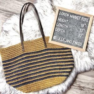 J. Crew Market Tote straw leather tan navy stripe